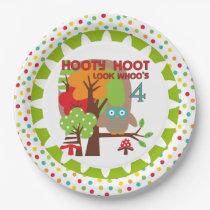 Hooty Hoot Owl 4th Birthday Paper Plates