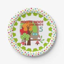 Hooty Hoot Owl 5th Birthday Paper Plates