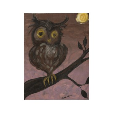 Halloween Themed Hooty Owl Wood Poster