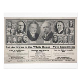 Hoover 1928 invitación personalizada