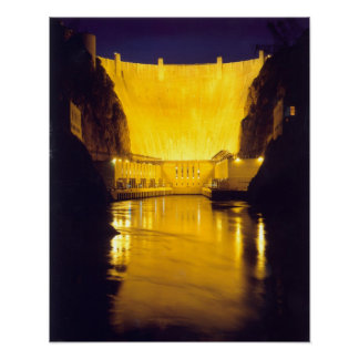 Hoover Dam at Night Print