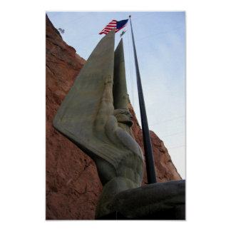 Hoover Dam Statue with American Flag Print