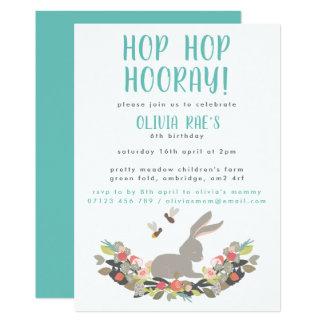 Hop Hop Hurray Rabbit Birthday Party Invitation