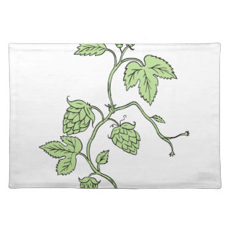 Hop Plant Climbing Drawing Placemat