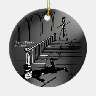 Hop-shuffle-step, fall down! ceramic ornament