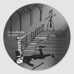 Hop-shuffle-step, fall down! classic round sticker