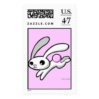 Hop the rabbit with fluffy pink tail postage stamp