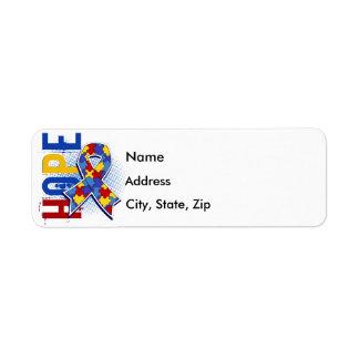 Hope 2 Autism Return Address Labels