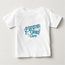 Hope A Faith Teal Ovarian Cancer Awareness Baby T-Shirt