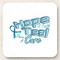 Hope A Faith Teal Ovarian Cancer Awareness Beverage Coaster