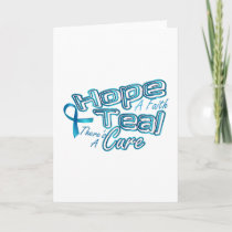 Hope A Faith Teal Ovarian Cancer Awareness Card