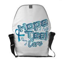 Hope A Faith Teal Ovarian Cancer Awareness Courier Bag