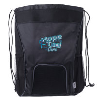 Hope A Faith Teal Ovarian Cancer Awareness Drawstring Backpack