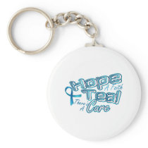 Hope A Faith Teal Ovarian Cancer Awareness Keychain