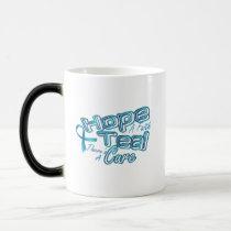 Hope A Faith Teal Ovarian Cancer Awareness Magic Mug