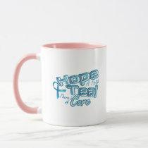 Hope A Faith Teal Ovarian Cancer Awareness Mug
