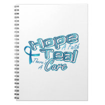 Hope A Faith Teal Ovarian Cancer Awareness Notebook
