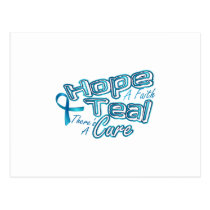 Hope A Faith Teal Ovarian Cancer Awareness Postcard