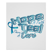 Hope A Faith Teal Ovarian Cancer Awareness Poster