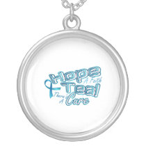 Hope A Faith Teal Ovarian Cancer Awareness Silver Plated Necklace