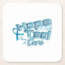 Hope A Faith Teal Ovarian Cancer Awareness Square Paper Coaster