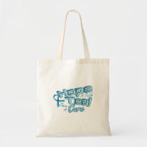 Hope A Faith Teal Ovarian Cancer Awareness Tote Bag