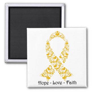Hope Amber Awareness Ribbon 2 Inch Square Magnet