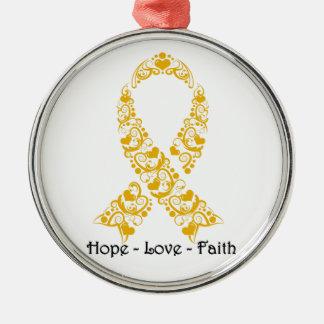 Hope Amber Awareness Ribbon Metal Ornament