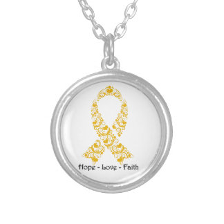 Hope Amber Awareness Ribbon Silver Plated Necklace