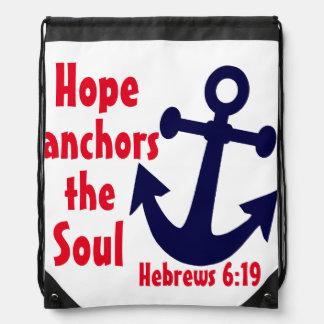 Hope anchors the soul Hebrews bible verse Drawstring Backpack