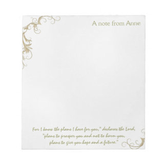 Hope and a Future, Custom Christian Note Paper Note Pad