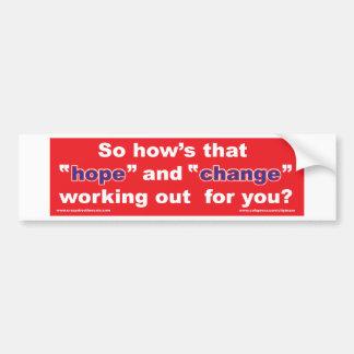 HOPE-and-Change-in-RED-2 Etiqueta De Parachoque