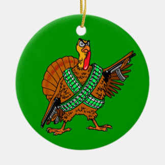 Hope And Change Turkey With Guns Ceramic Ornament