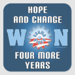 Hope And Change Won Four More Years Square Sticker
