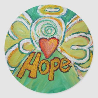 Hope Angel Inspirational Word Art Custom Stickers