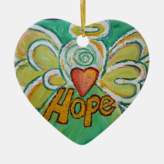 Hope Angel Word Art Gift Holiday Ornament
