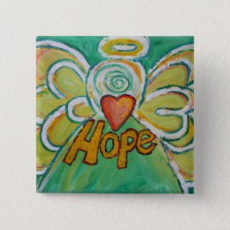 Hope Angel Word Art Pendant Button Pins
