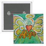 Hope Angel Word Art Pendant Button Pins