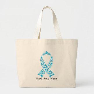 Hope Aqua Blue Awareness Ribbon Large Tote Bag