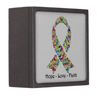 Hope Autism Awareness Ribbon Gift Box