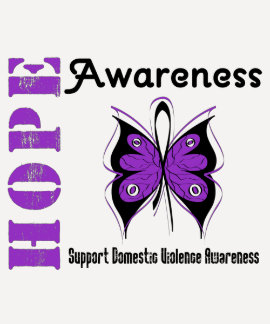Hope Awareness Butterfly Domestic Violence T Shirt