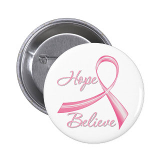 Hope Believe Brush Ribbon Breast Cancer 2 Inch Round Button