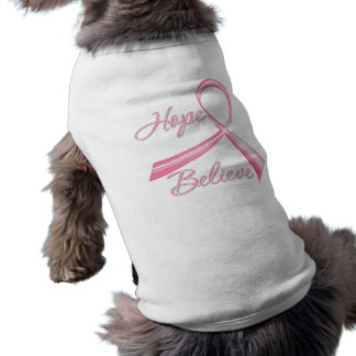 Hope Believe Brush Ribbon Breast Cancer Pet Tee