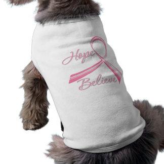 Hope Believe Brush Ribbon Breast Cancer Pet T Shirt
