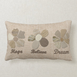 Hope, Believe, Dream Fabric Flower Collage Pillow