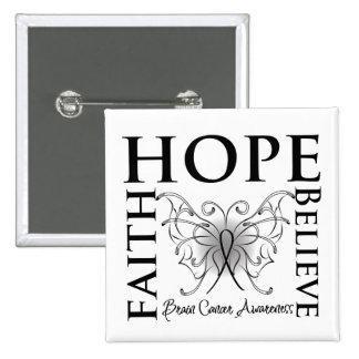 Hope Believe Faith - Brain Cancer Pinback Button