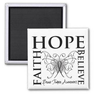 Hope Believe Faith - Brain Tumor 2 Inch Square Magnet