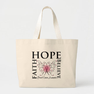 Hope Believe Faith - Breast Cancer Large Tote Bag