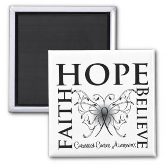 Hope Believe Faith - Carcinoid Cancer 2 Inch Square Magnet