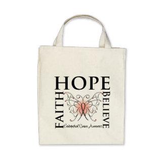 Hope Believe Faith - Endometrial Cancer Canvas Bags